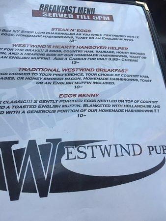 Menu options, Westwind Pub 4940 Cherry Creek Rd, Port Alberni, British Columbia