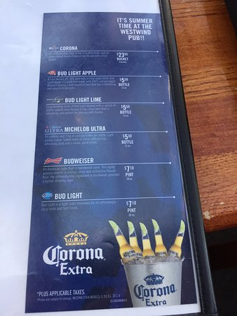 Beer offerings, Westwind Pub 4940 Cherry Creek Rd, Port Alberni, British Columbia