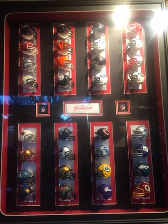 NFL Helmuts display, Westwind Pub 4940 Cherry Creek Rd, Port Alberni, British Columbia