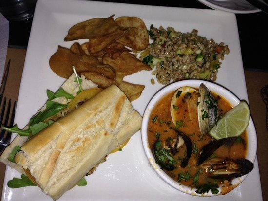 Mustard Seed Bistro: Half Sandwich (Lump Crab Meat) With Awesome Peruvian Fish Stew