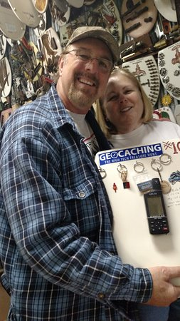 "Alamo Heights, TX: Signing the ""Geocaching"" seat. This was also my first GPS model, a Garmin 315"