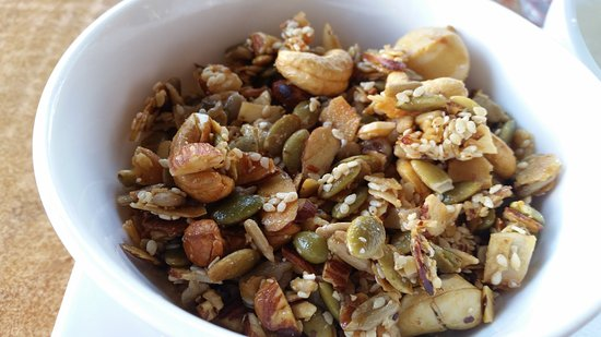 Cafe DMP : muesli, with lots of nuts seeds etc