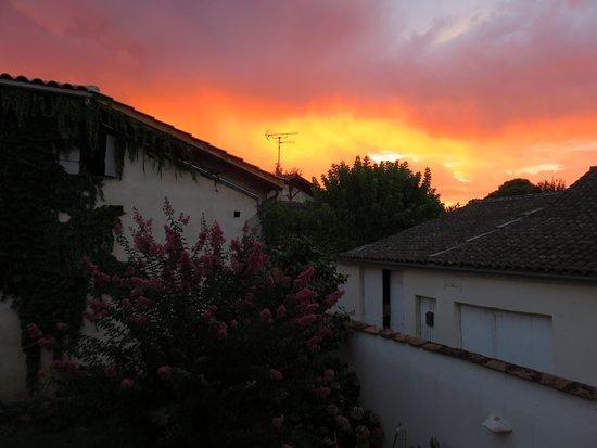 La Reole, France: Evening storm over rear garden