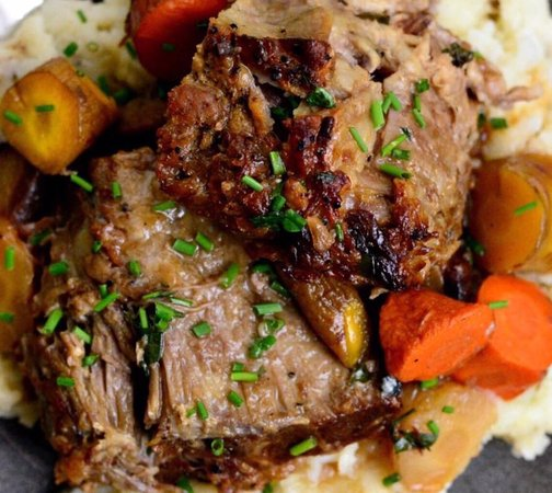 Cafe 2 North at Cedar Lake: Cider braised pork shoulder with carrots and parsnips.