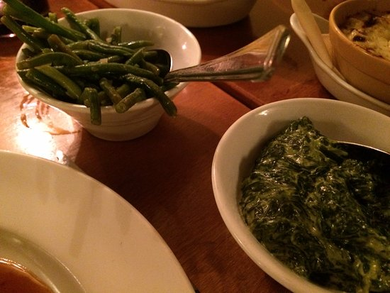 Great Missenden, UK: Beans and spinach