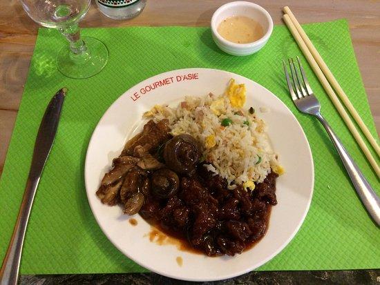 Saint-Léonard, France : Poulet caramel un délice et son riz cantonais
