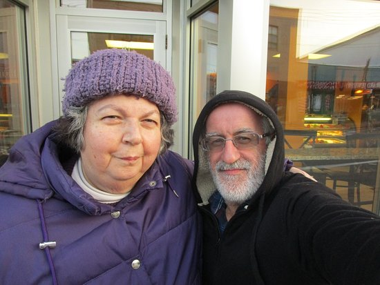 West Warwick, RI: Louis and I in front of Matos Bakery.