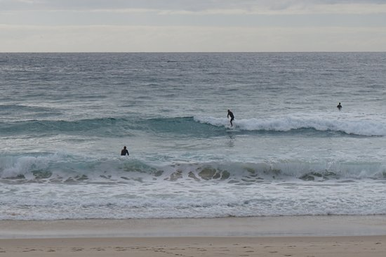 Tugun Beach: Locals swimming and surfing..early birds