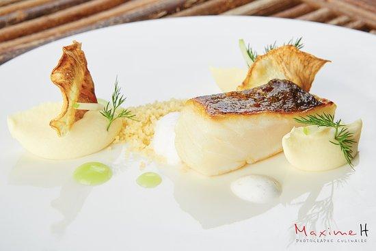 restaurant l'Argousier : Dos de skrei rôti, céleri et pomme Grany Smith