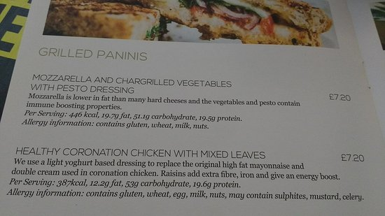 Henlow, UK: Their menu of our panni.