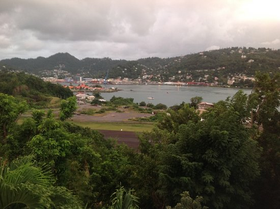 Castries Quarter, St. Lucia: View from the common terrace, SUL landing strip, harbour and Castries