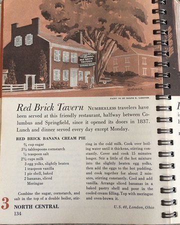 London, OH: The Red Brick Tavern's banana cream pie recipe from 1950; published in the Ford Treasury of Favo