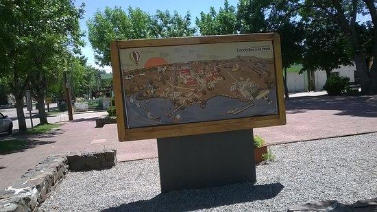 plano de la ciudad de Conchillas donde te muestra todo le podes conocer del lugar