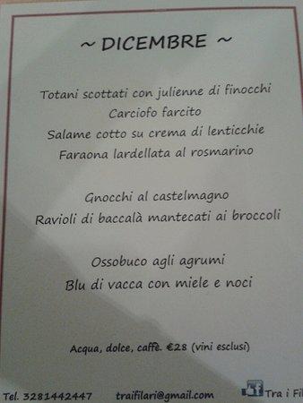 Cassine, อิตาลี: menù