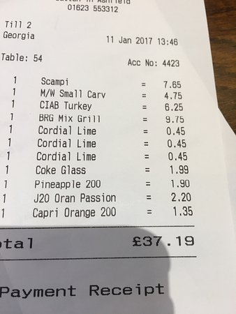 Sutton in Ashfield, UK: Coke was £1.90 for just over half of a half pint!!! Like and soda £1.50 again for not a pint!