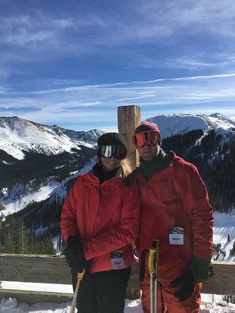 Taos Ski Valley, NM: My wife and I enjoying a beautiful view at the top of Lift 2!