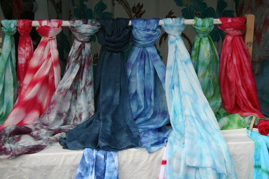 Pahoa, HI: Colorful Scarves on display