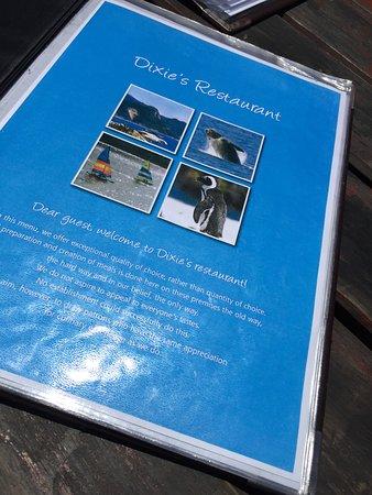 Glencairn, Südafrika: Cardápio