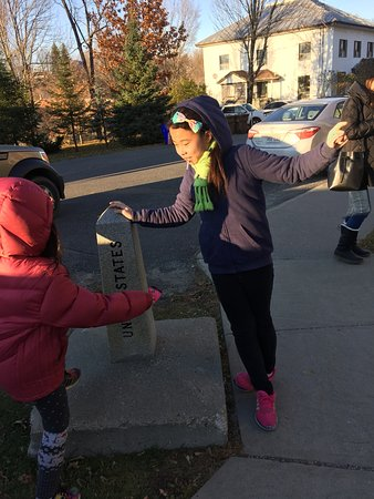 Stanstead, Canada : The kids were satisfied hopping around the stone