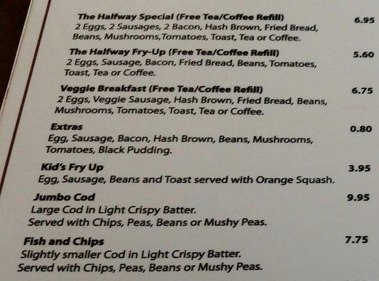 Vale, UK: Breakfast and main menu