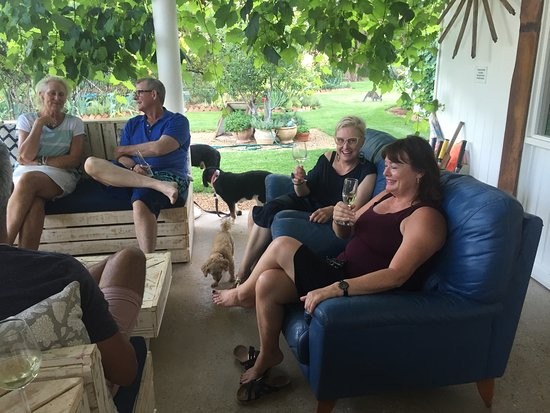 Hay, Australia: New Year's Eve with Julie and Bruce, the dogs, even Julie's rescue kangaroo in the background.