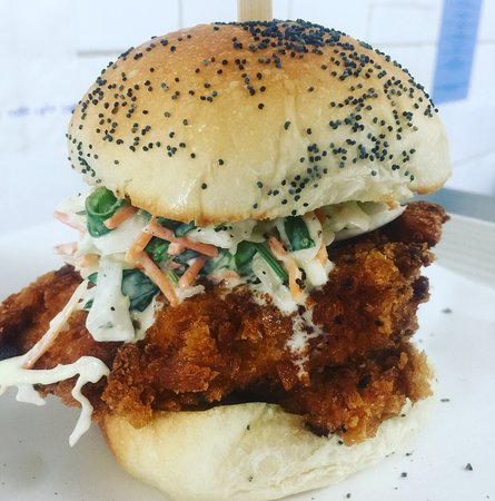 Karuah, Australia: Freshly crumbed chook schnitzel burger with a lemony slaw.  Great summer lunch option.
