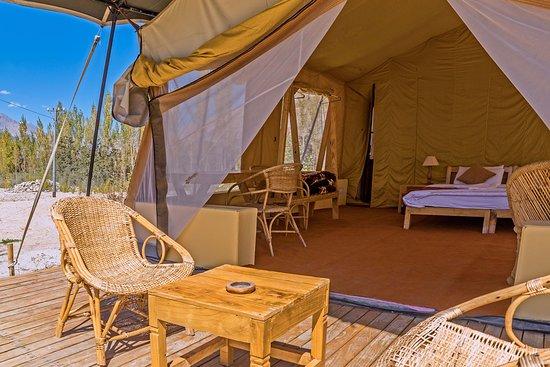 Nubra Ecolodge Safari Tent Deck & Safari Tent Deck - Picture of Nubra Ecolodge Nubra Valley ...