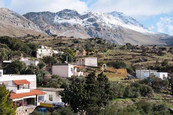 Kerames, Greece:  View from balcony on the mini-supermarket next door