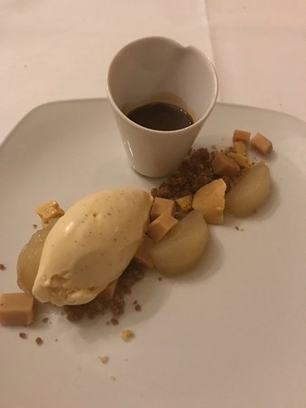Cuckfield, UK: Poached pear with fudge, ice cream, honeycomb and a toffee sauce