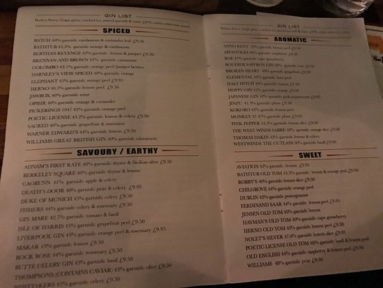 A Sample Of One Of Pages On The Menu - Picture Of The London Gin