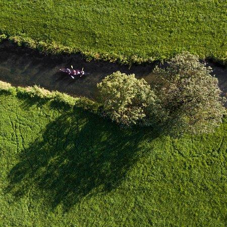 Muensingen, Alemania: Durch das Grün im Kanu