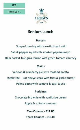 Sydenham, UK: Seniors Lunch - Every Thursday (new menu each week...)