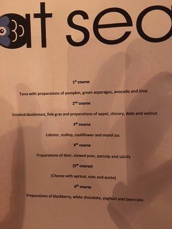 At Sea: The menu