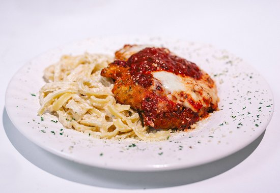 Nixa, MO: Chicken Parmesan | Fried chicken breast topped with melted provel and D'Arpino's marinara.