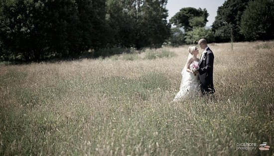 Yelverton, UK: Bride &Groom in meadow