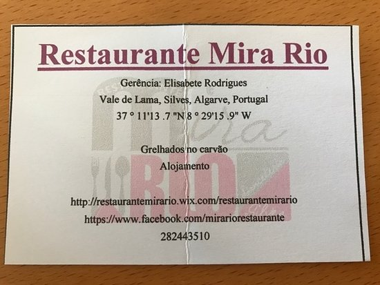Visitenkarte Picture Of Restaurante Mira Rio Silves