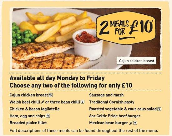 Salt: Available all day Monday to Friday, two meals for just £10 from this selection