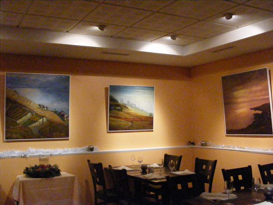 Part of the Restaurant du Nord, Chexbres decoration with paintings by locals.