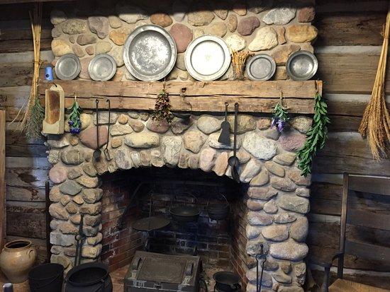 Waterloo, نيويورك: Fireplace inside the log home