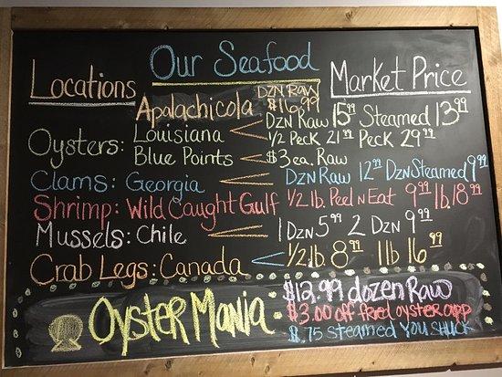 จอห์นสันซิตี, เทนเนสซี: Notice, Louisiana oysters, Georgia clams, wild caught Gulf shrimp, Canadian crab legs, and musse