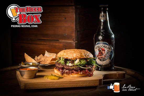 The Beer Box: Blue cheese burger with caramelized onions in wine reduction and arugula, our most luxurious bur
