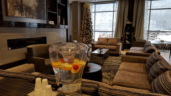 Edgewater, NJ: Front lobby during the holidays on a snowy day.