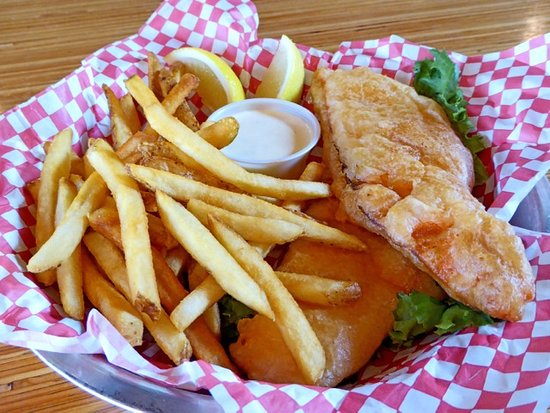Fish Chips And Salmon Chips On Lunch Dinner Menu Picture Of