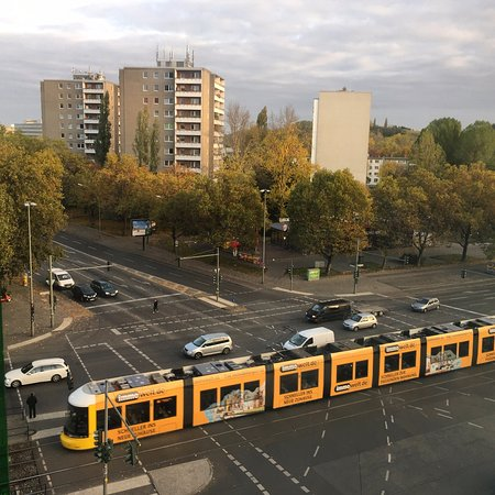 andel's by Vienna House Berlin: View from Room 411 out front of hotel, Tram and Prenzlauer Berg.