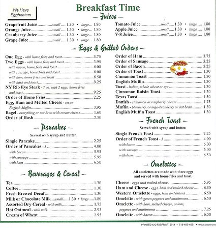 Massena, Estado de Nueva York: Petits déjeuners / Breakfast menu