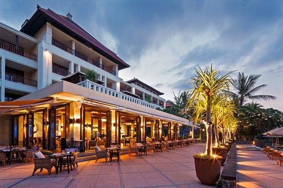 The Legian Bali: The Restaurant Terrace overlooking infinity pools and ocean