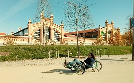 Community of Madrid, Spain: Riding along Madrid Río with the Matadero in the background