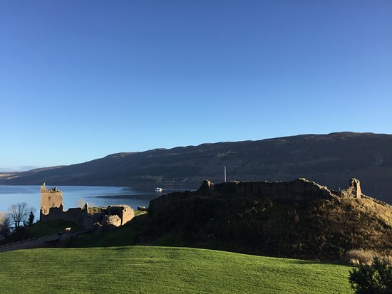 Urquhart Castle: from the centre across to the castle