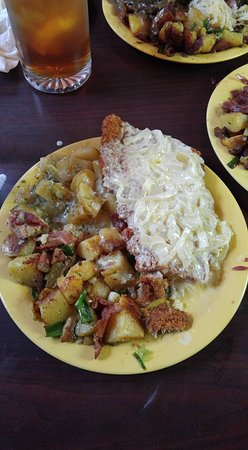 Johnson City, TN: Freiberg schnitzel with fried potatoes, and german potato salad