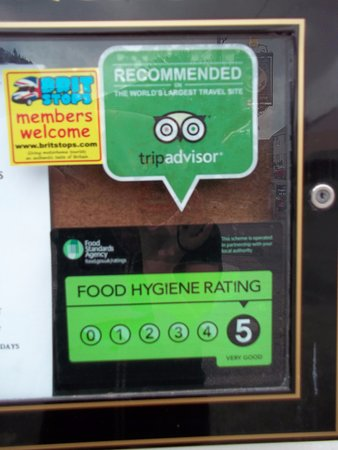 Fraddon, UK: Brit Stops welcome & Hygiene rating